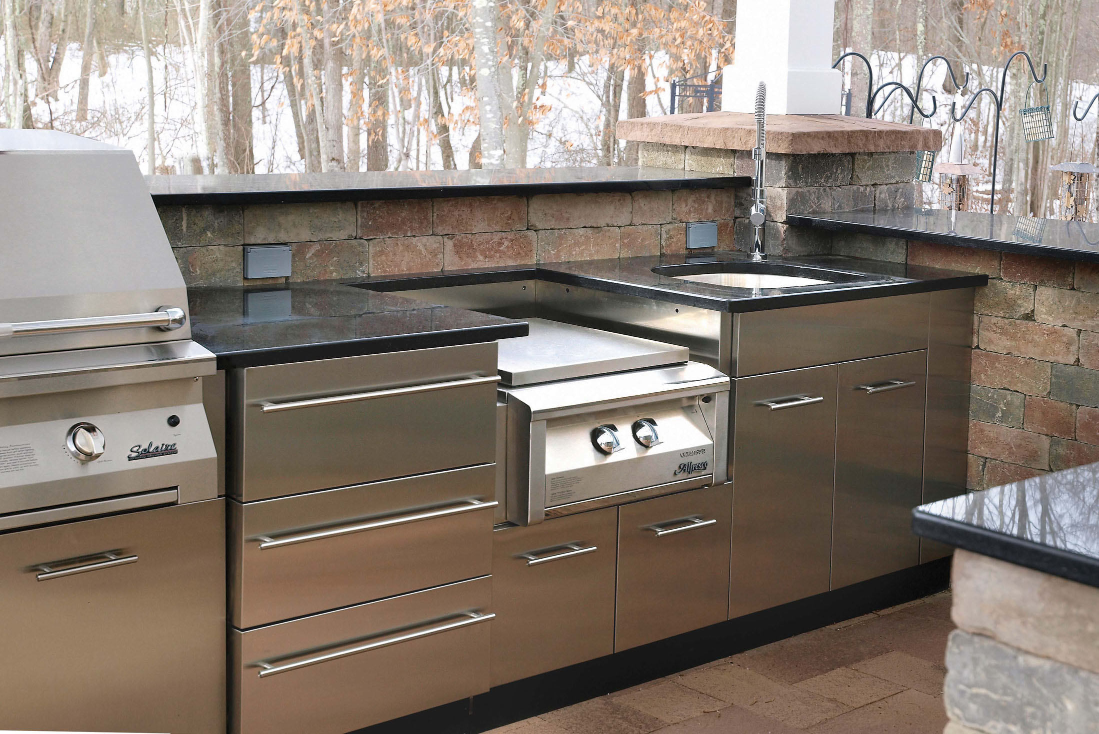 outdoor stainless kitchen in winter in ct danver On stainless steel outdoor kitchen