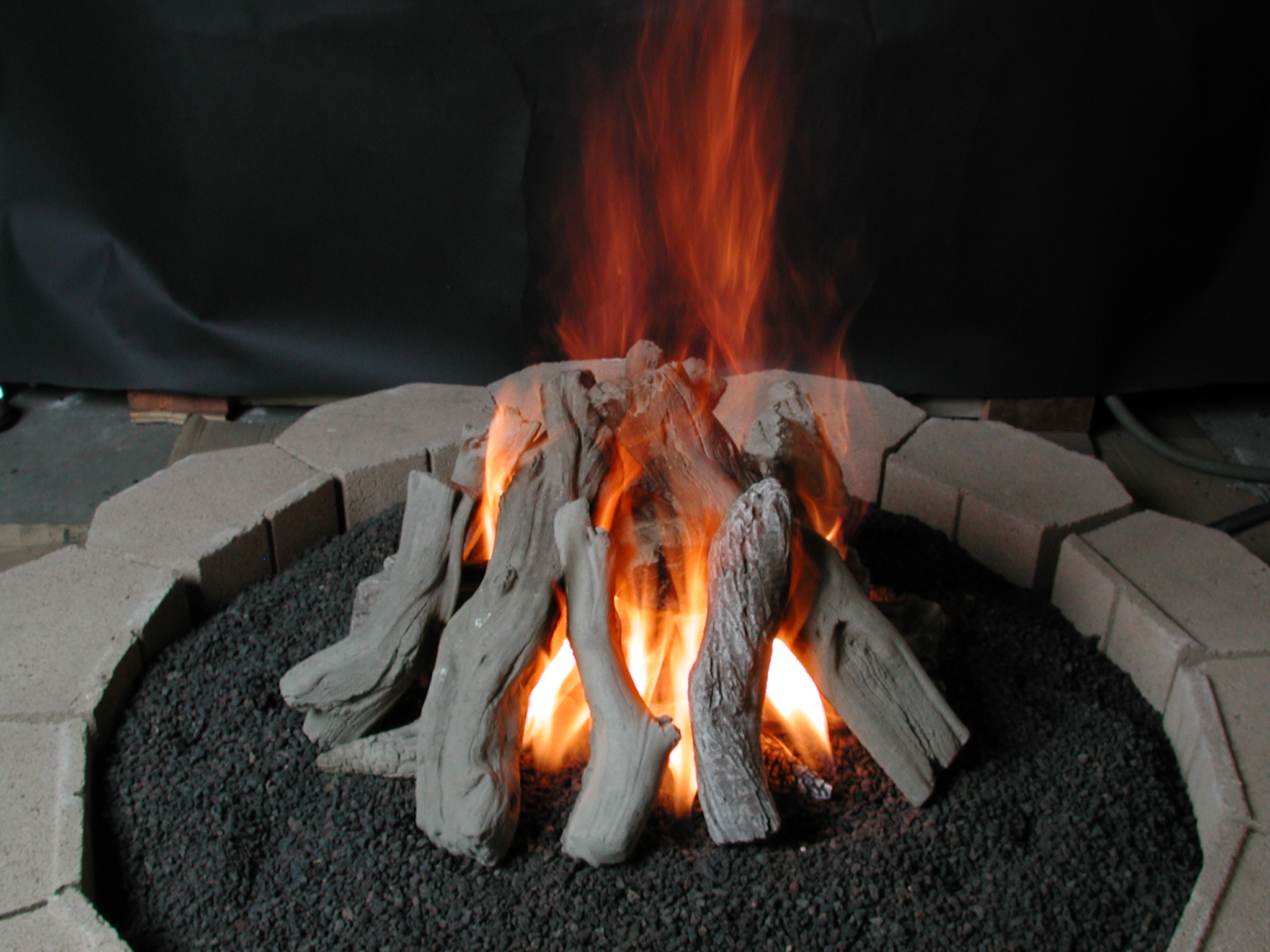 burning log outdoor furniture
