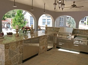 Stainless Cabinets in Stone Enclosure