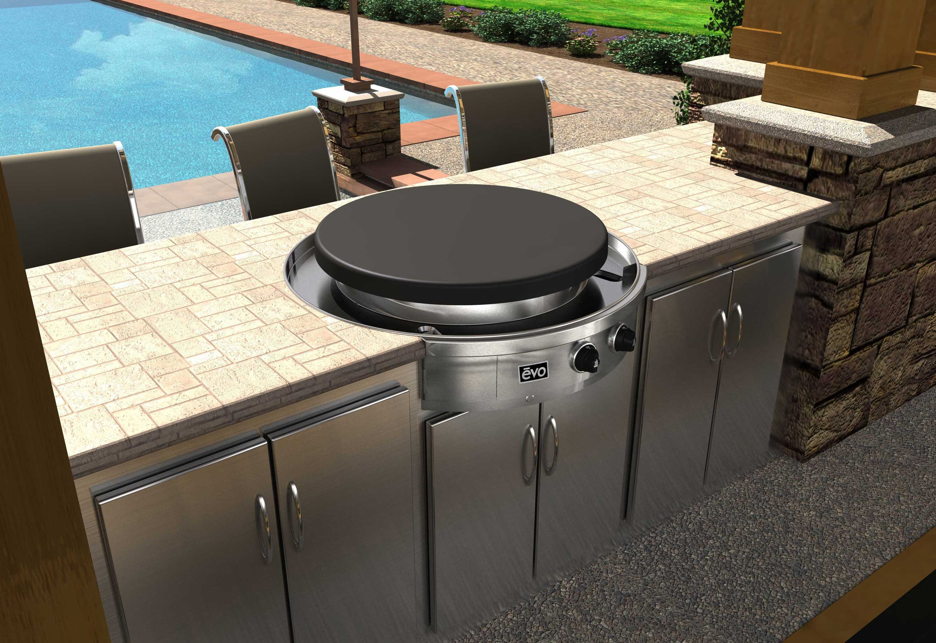 Flattop grill danver stainless steel cabinetry for Outdoor kitchen refrigerators built in